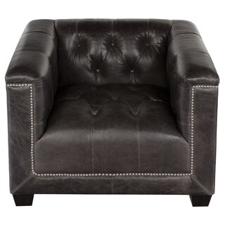 Safavieh Couture High Line Collection Donovan Grey Tufted Top-Grain Leather Chair