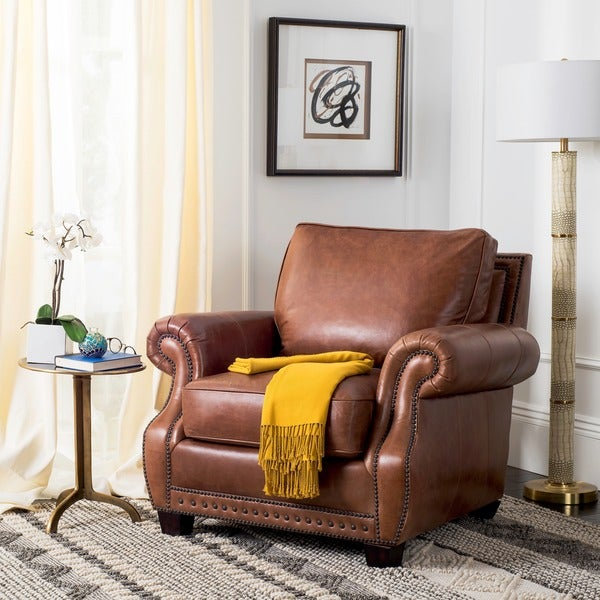 Safavieh Couture High Line Collection Brayton Coffee Leather Chair