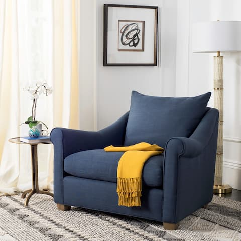 Safavieh Couture High Line Collection Frasier Oak Navy Blue Chair