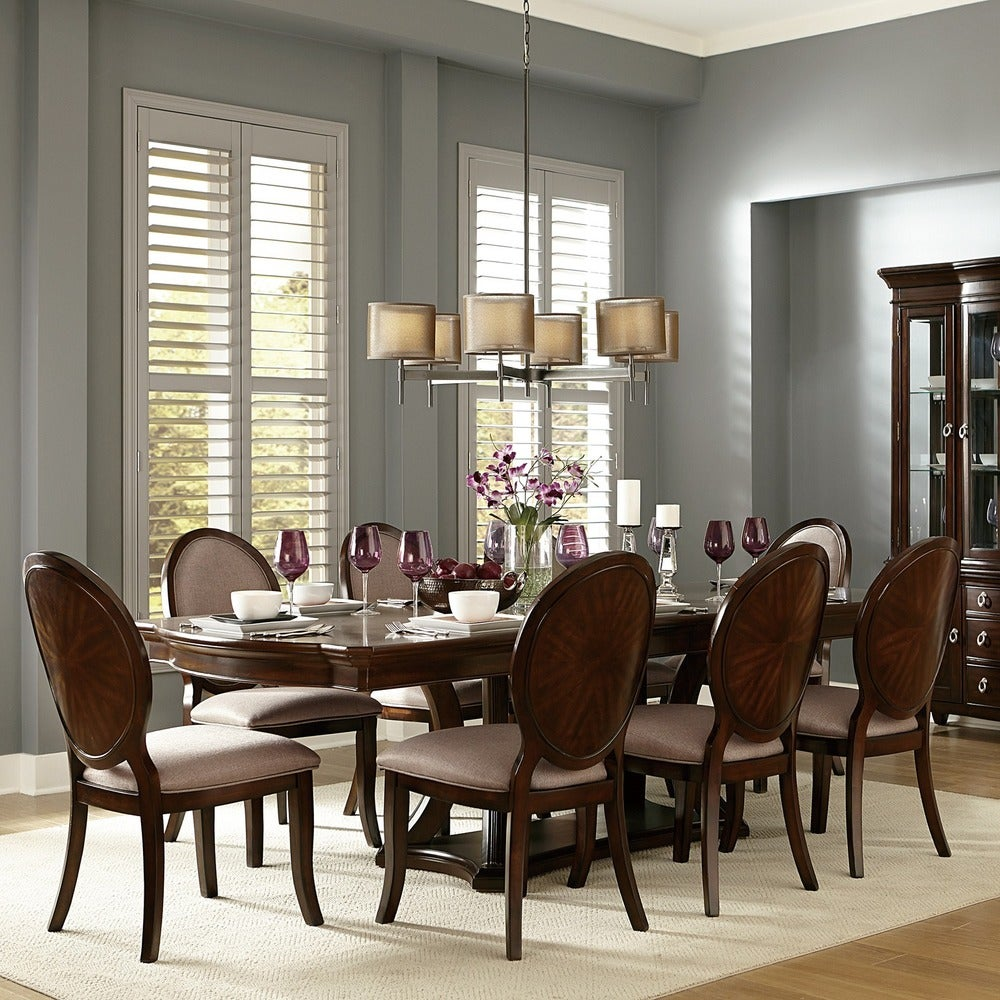 iNSPIRE Q Classic Verdiana Rich Brown Cherry Finish 9 Piece Extending Dining Set