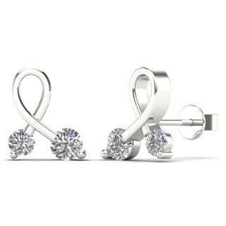 AALILLY 10k White Gold 0.2ct TDW Diamond Ribbon Stud Earrings