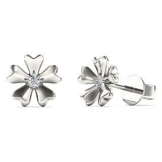 10k White Gold Single Diamond Accent Flower Stud Earrings (H-I, I1-I2)