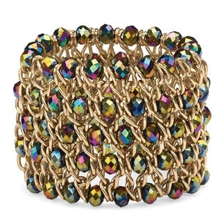 "PalmBeach Round Mystic Crystal Curb-Link Chain Stretch Bracelet in Gold Tone 8"" Color Fun"