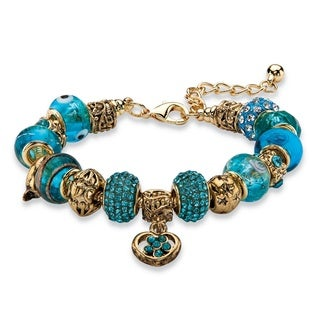 "PalmBeach Blue Crystal Bali-Style Beaded Charm Bracelet in Antiqued Gold Tone 8""-10"" Color Fun"