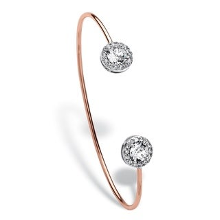 """Round Pave Crystal Rose Gold-Plated Halo Cuff Bracelet 5.5"""" Bold Fashion"""