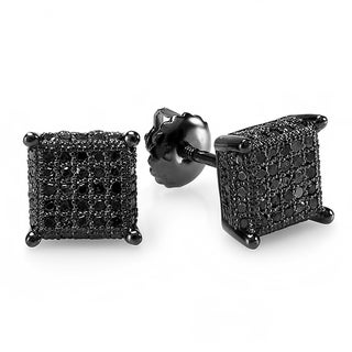 Elora Sterling Silver 1/2ct TDW Black Diamond Dice Shape Ice Cube Earrings