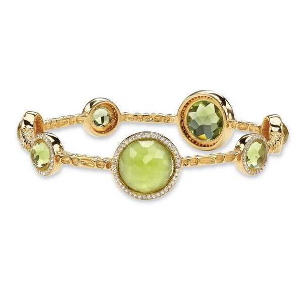 "1 TCW Bezel-Set Simulated Peridot and CZ 14k Gold-Plated Halo Bangle Bracelet 9 1/4"" Color"