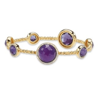 """PalmBeach 1 TCW Simulated Amethyst and Cubic Zirconia 14k Gold-Plated Halo Bangle Bracelet 9 1/4"""" Color Fun"""