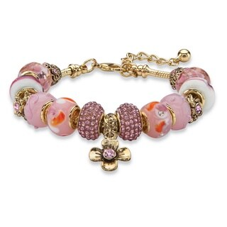"""Pink Crystal Bali-Style Beaded Charm Bracelet in Antiqued Gold Tone 8""""-10"""" Color Fun"""
