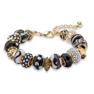 "Black and White Crystal Bali-Style Beaded Charm Bracelet in Antiqued Gold Tone 8""-10"" Colo