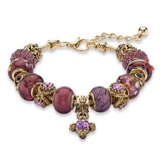 "Purple Crystal Bali-Style Beaded Charm Bracelet in Antiqued Gold Tone 8""-10"" Color Fun"