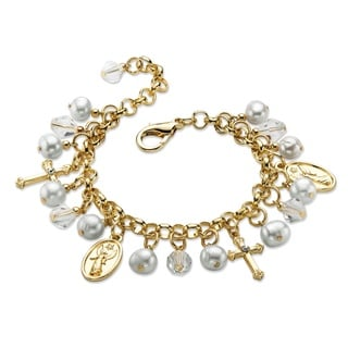 "PalmBeach Round Simulated Pearl and Crystal Religious Charm Bracelet in Gold Tone 8"" Color Fun"