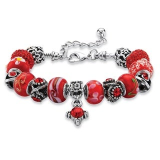 "PalmBeach Round Red Crystal Silvertone Bali-Style Beaded Charm and Spacer Bracelet 8""-10"" Color Fun"