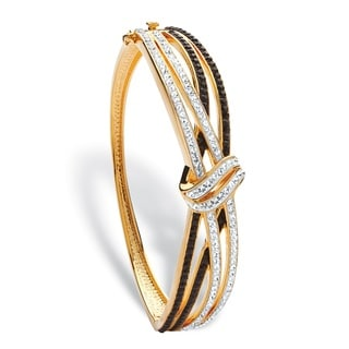 "PalmBeach Black and White Pave Crystal Crossover Bangle MADE WITH SWAROVSKI ELEMENTS 14k Gold-Plated 7.5"" Color Fun"