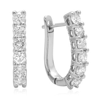 14k White Gold 7/8ct TDW Round-cut Diamond Hoop Earrings