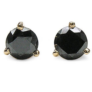 Malaika 14k Yellow Gold Sterling Silver 7/8ct TDW Black Diamond Earrings
