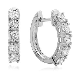 14k White Gold 1ct TDW Round White Diamond Hoop Earrings (I-J ,I1-I2)