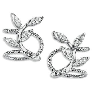 Sterling Silverplated Cubic Zirconia Marquise Ear Clips
