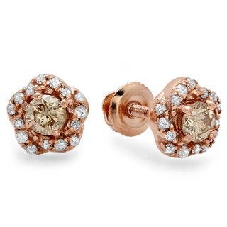 10k Rose Gold 3/8ct TDW Champagne Diamond Stud Earrings