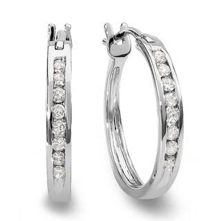 Elora 10k White Gold 1/5ct TDW Round White Diamond Fine Hoop Earrings (I-J, I2-I3)