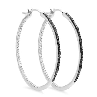 Elora Sterling Silver 1/5ct TDW Black Diamond Hoop Earrings