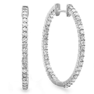 Elora 14k White Gold 1ct TDW Diamond In and Out Hoop Earrings (H-I, I1-I2)