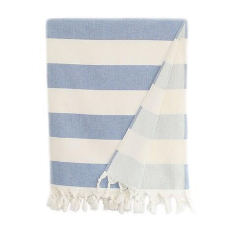 Authentic Hotel and Spa Cabana Stripe Pestemal Fouta Turkish Cotton Bath/Beach Towel