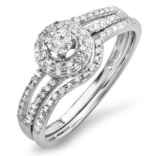 14k White Gold 1/2ct TDW Diamond Split Shank Halo Bridal Ring Set (H-I, I1-I2)