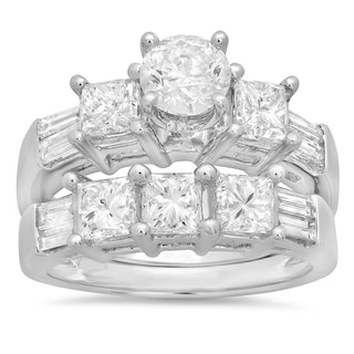 14k White Gold 3 1/10ct TDW Diamond Bridal Engagement Ring Set (H-I, I1-I2)