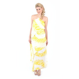 Halston Heritage Halter Neck Asymmetrical Tiered Gown