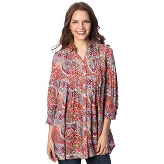 Women's Arabian Paisley Tuxedo Pleat 3/4 Sleeve Tunic