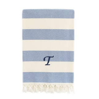 Authentic Cabana Stripe Pestemal Fouta Blue and Cream Original Turkish Cotton Bath/Beach Towel with Monogram Initial