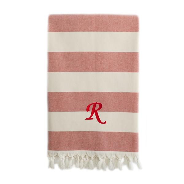 Authentic Cabana Stripe Pestemal Fouta Red and Cream Original Turkish Cotton Bath/Beach Towel with Monogram Initial