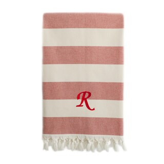 Authentic Cabana Stripe Pestemal Fouta Red and Cream Original Turkish Cotton Bath/Beach Towel with Monogram Initial