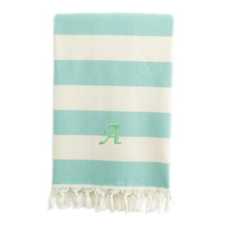 Authentic Cabana Stripe Pestemal Fouta Aqua Green and Cream Original Turkish Cotton Bath/Beach Towel with Monogram Initial