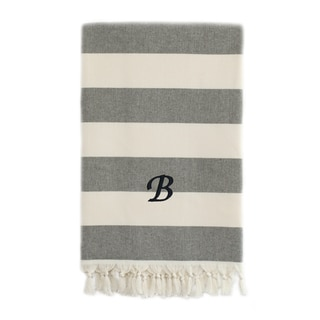 Authentic Cabana Stripe Pestemal Fouta Charcoal Black and Cream Original Turkish Cotton Bath/Beach Towel with Monogram Initial