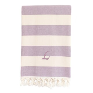 Authentic Cabana Stripe Pestemal Fouta Lilac and Cream Original Turkish Cotton Bath/Beach Towel with Monogram Initial