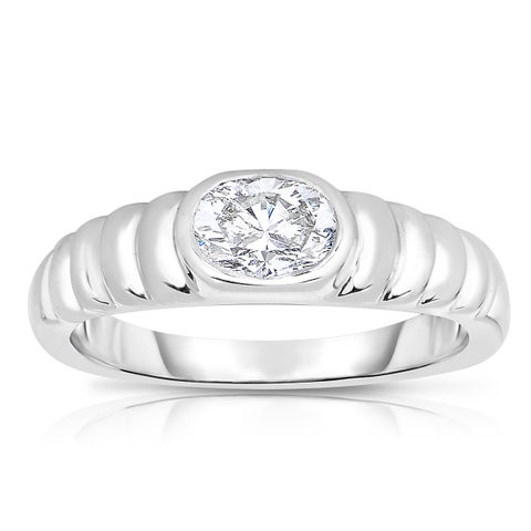 Eloquence Platinum 5/8ct TDW Oval Solitaire Diamond Ring - White H-I