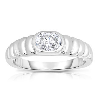 Eloquence Platinum 5/8ct TDW Oval Solitaire Diamond Ring (H-I, VVS1-VVS2)