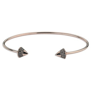 Pink-plated Sterling Silver Cuff Bangle