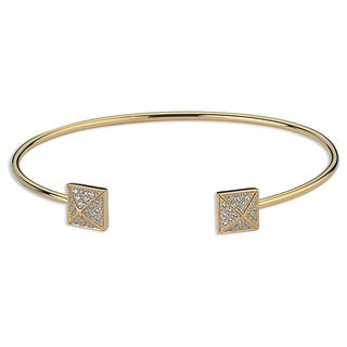 Yellow Rhodium Cubic Zirconia Pave Cuff Bangle - Gold