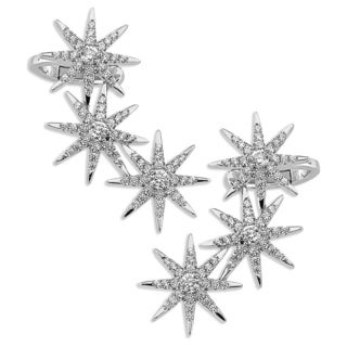 Sterling Silverplated Cubic Zirconia Starburst Ear Climbers