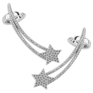 Plated Sterling Silver Micro Pave Star Ear Climbers