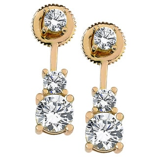 Yellow Rhodium-plated Sterling Silver Cubic Zirconia Pendulum Top and Bottom Earrings