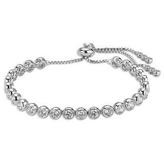 Plated Sterling Silver Bezel Set Tennis Bracelet