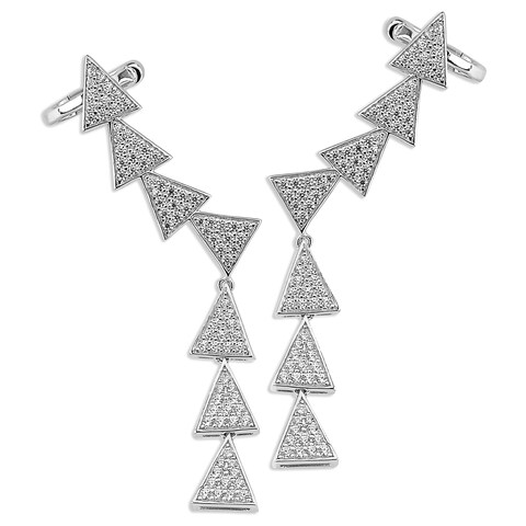 Sterling Silver Cubic Zirconia Micro Pave Ear Climbers