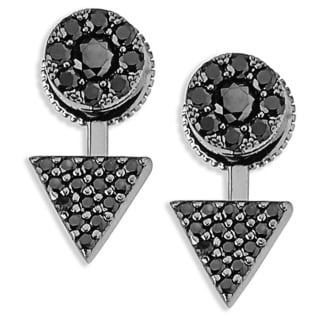 Plated Micro Pave Black Cubic Zirconia Top and Bottom Earrings