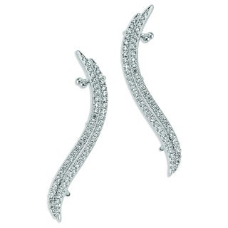 Plated Sterling Silver Cubic Zirconia Ear Climbers