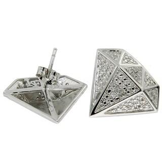 Sterling Silver 1/6ct TDW Diamond Pave Stud Earrings