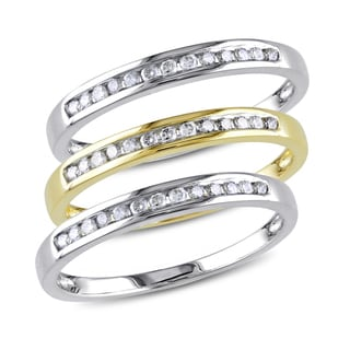 Miadora 10k 2-tone Gold 3/8ct TDW Diamond Anniversary Ring Set